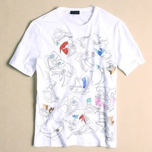 LANVIN signed white Tee parrot print